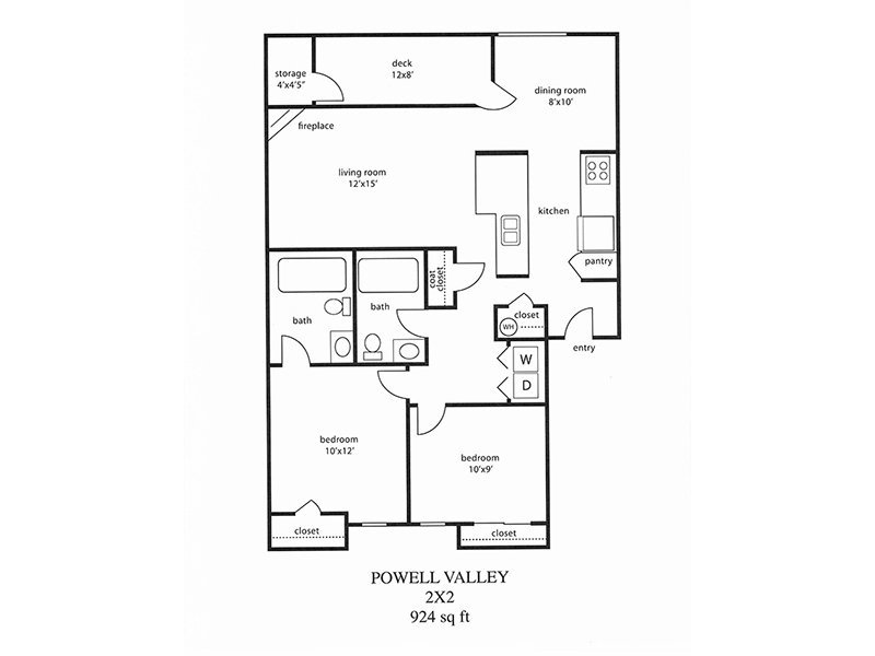 Powell Valley Farms Apartments Floor Plan 2 Bedroom 2 Bath