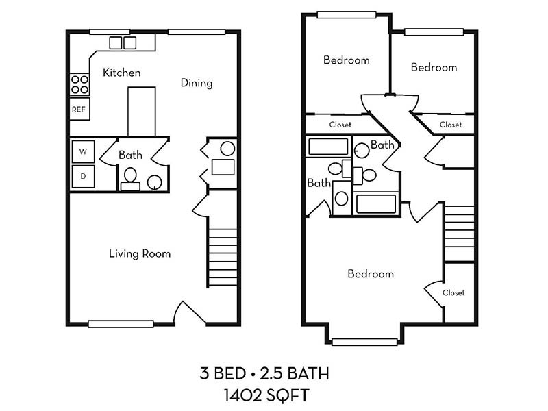 Logan Landing Townhomes Apartments Floor Plan 3 bed 2.5 bath