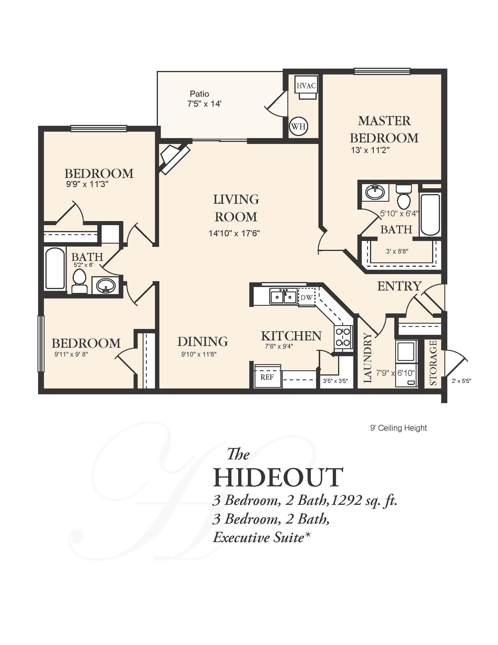View floor plan image of 3 Bedroom 2 Bath apartment available now