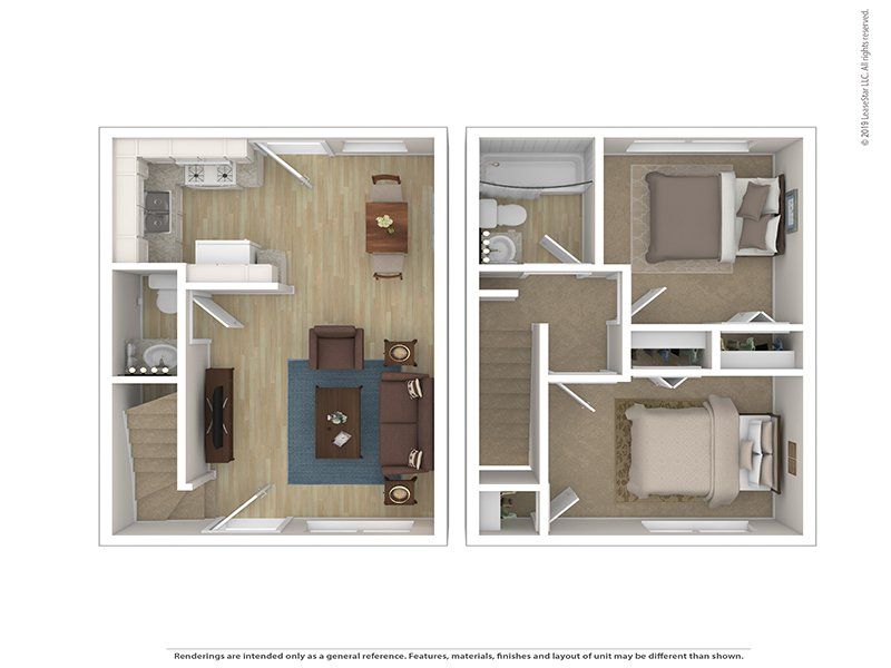 Sugar Pine Townhomes Apartments Floor Plan 2 Bedroom Townhome
