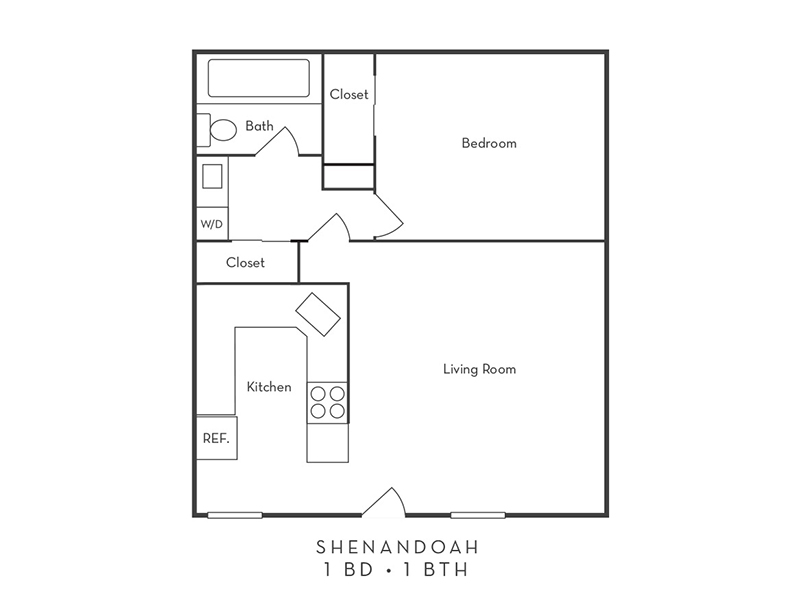 Shenandoah Apartments Floor Plan 1 Bedroom 1 Bath