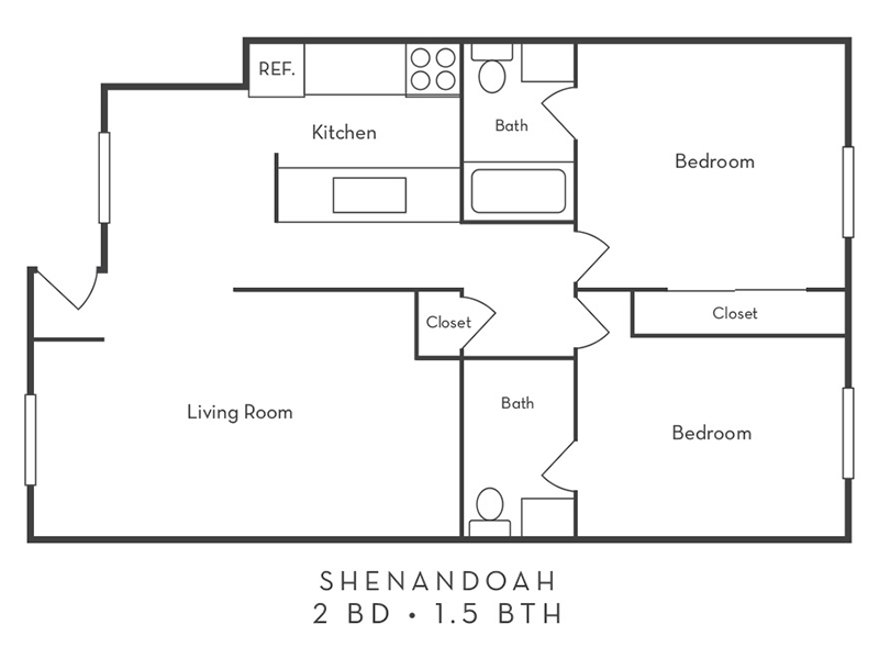 View floor plan image of 2 Bedroom 1.5 Bath apartment available now