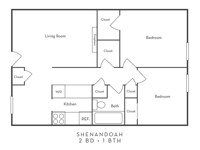 Shenandoah Apartments Floor Plan 2 Bedroom 1 Bath