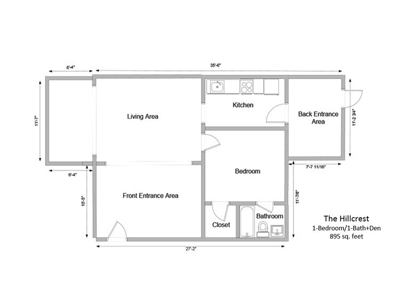 Floor Plans for The Hillcrest Apartments in Salt Lake City