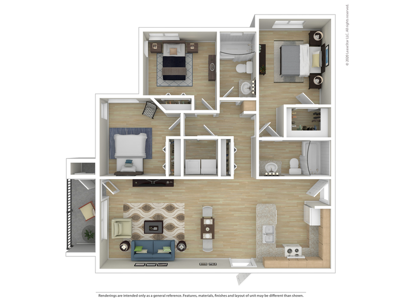Riverwalk Apartments Floor Plan Three Bedroom Two Bath