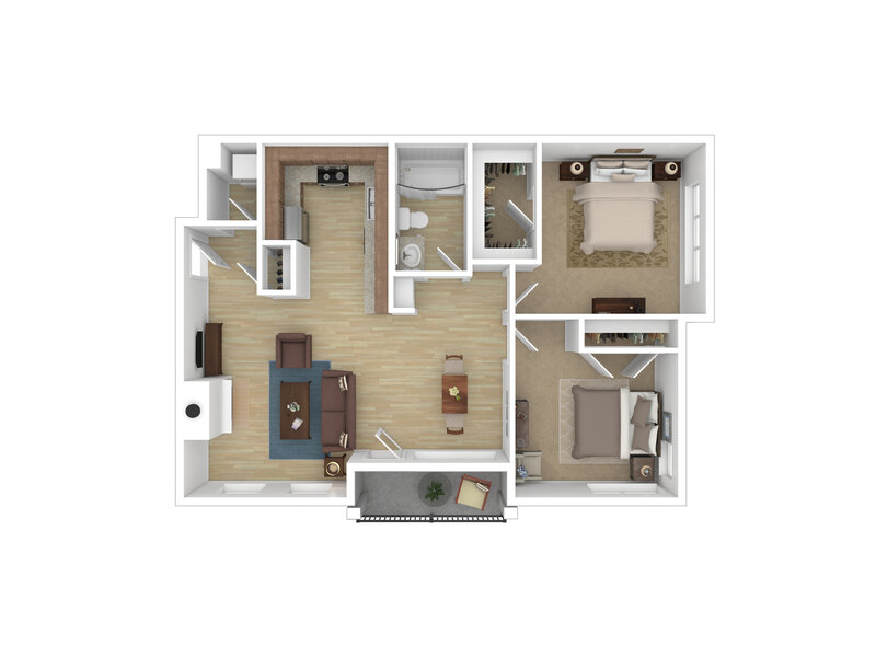 Riverwalk Apartments Floor Plan Two Bedroom One Bath