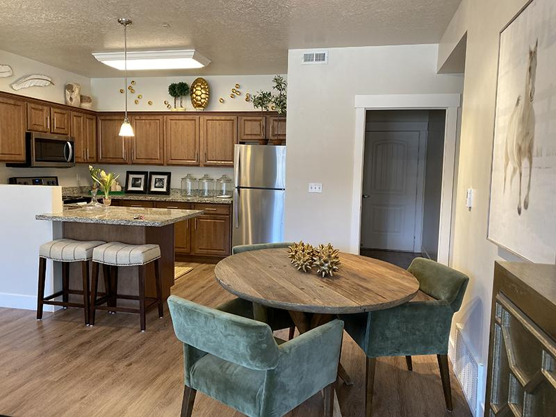 Dining Area & Kitchen | Riverwalk Apartments