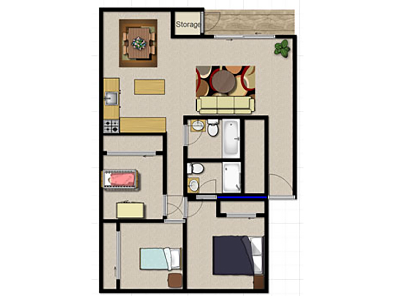 Liberty Heights Apartments Floor Plan 3 Bedroom 2 Bath