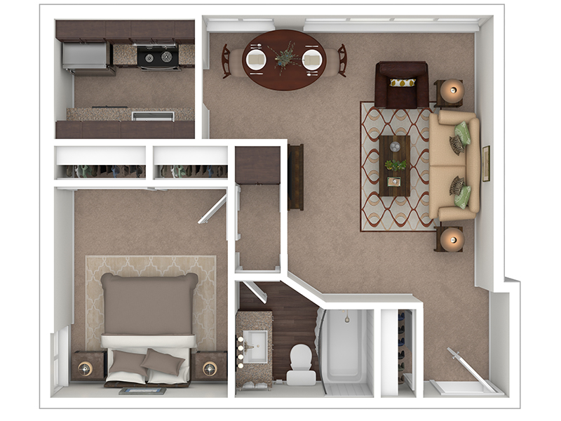 Hightower Apartments Floor Plan 1 Bedroom 1 Bath A