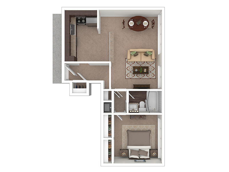Hightower Apartments Floor Plan 1 Bedroom 1 Bath B