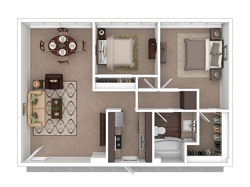 Hightower Apartments Floor Plan 2 Bedroom 1 Bath A