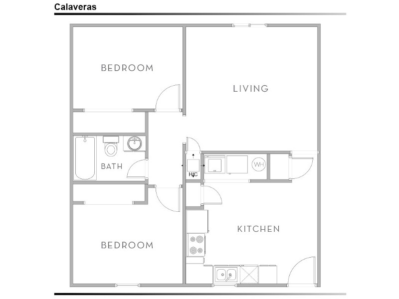 View floor plan image of 2 Bedroom 1 Bath apartment available now