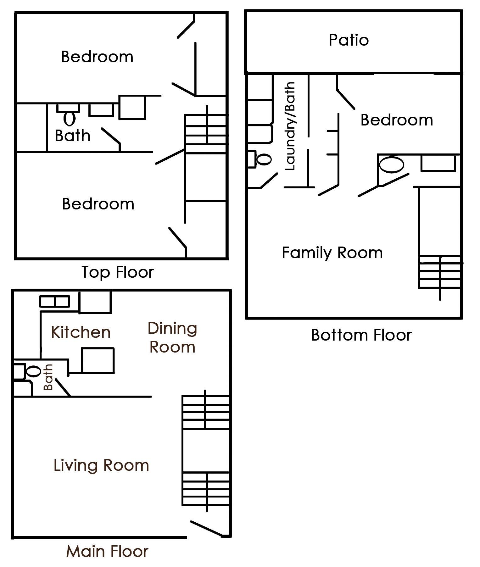 Townhomes at Mountain Ridge Apartments Floor Plan 3 Bedroom 2.5 Bath