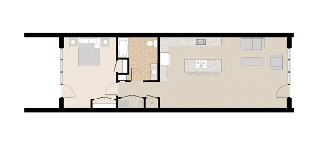 21 and View Apartments Floor Plan 1X1A