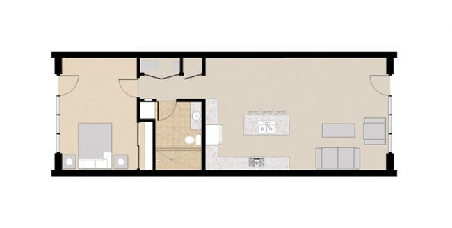21 and View Apartments Floor Plan 1X1B