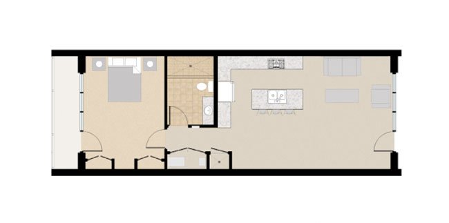 21 and View Apartments Floor Plan 1X1C