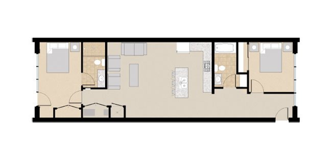 21 and View Apartments Floor Plan 2X2E