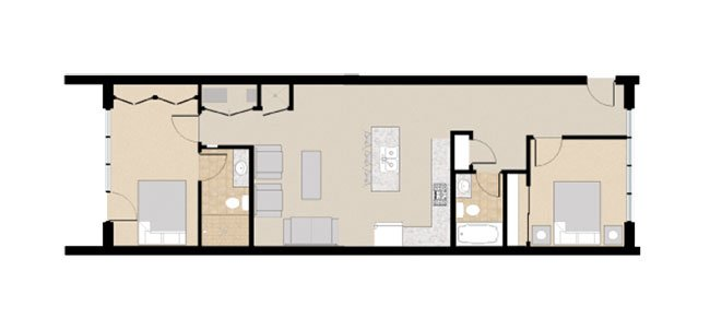 21 and View Apartments Floor Plan 2X2F