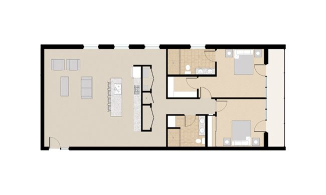 21 & View Apartments Floor Plan 2X2H
