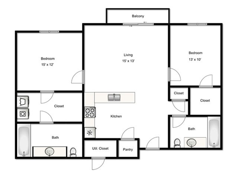 View floor plan image of Townsend apartment available now