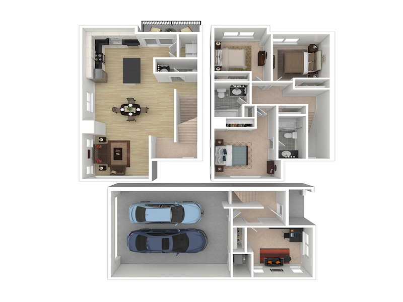 3 Bedroom 2 Bathroom C apartment available today at Whisperwood by Lotus in Ogden