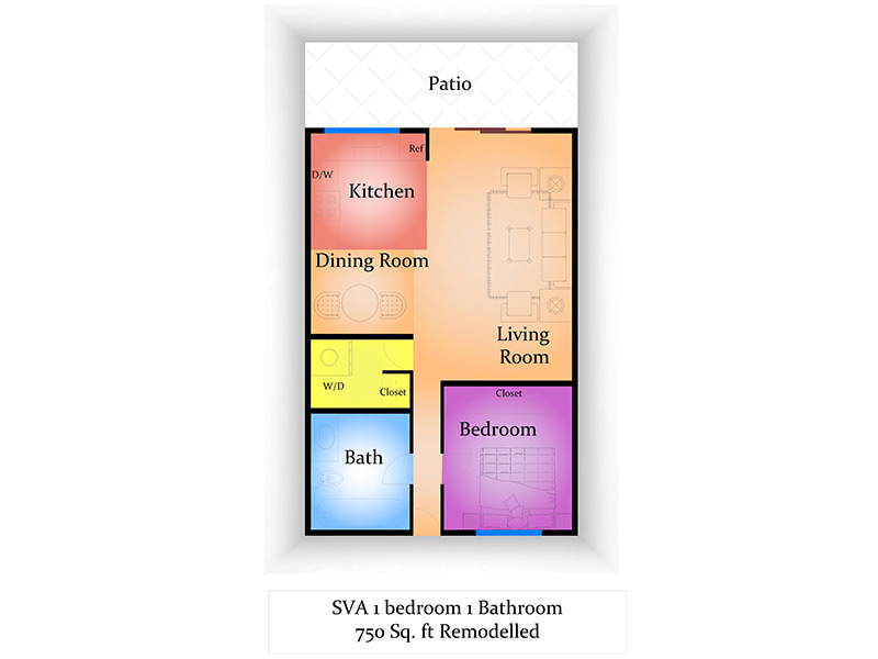 Sun Valley Apartments Floor Plan 1 Bedroom