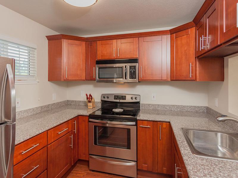 Cherry Wood Kitchen - Lavish Apartments in CA