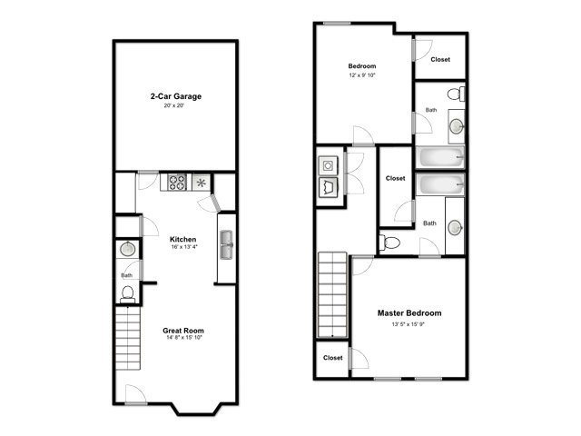 The Cove at Pleasant View Apartments Floor Plan 2 Bedroom