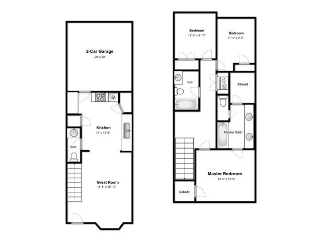 The Cove at Pleasant View Apartments Floor Plan 3 Bedroom L