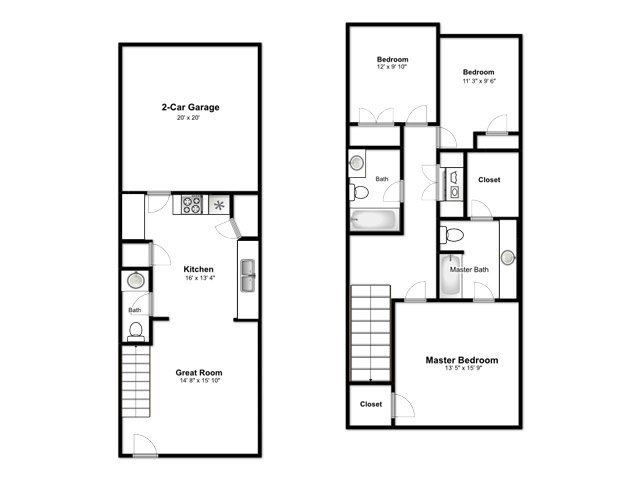 The Cove at Pleasant View Apartments Floor Plan 3 Bedroom S