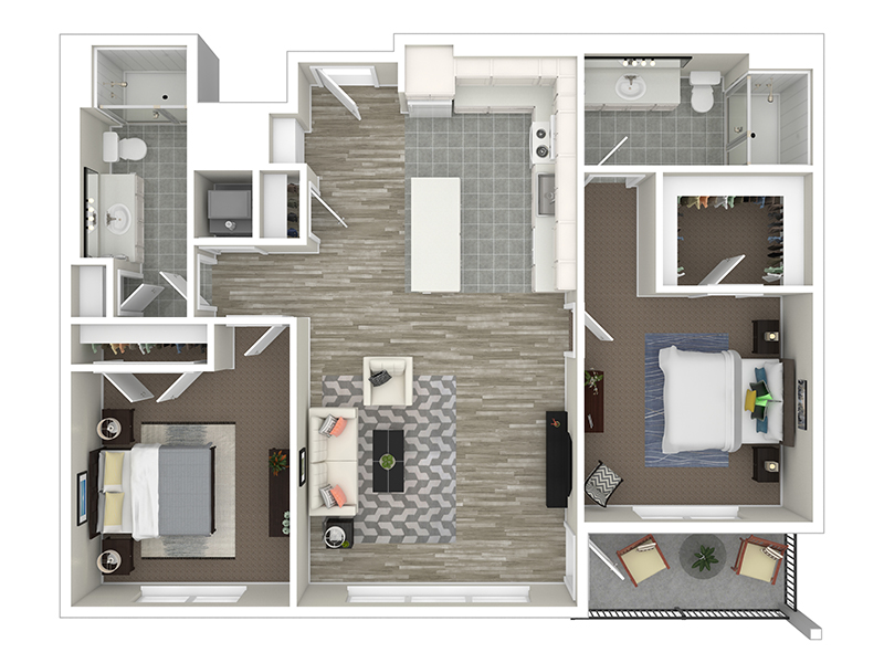 View floor plan image of 2 Bedroom B apartment available now