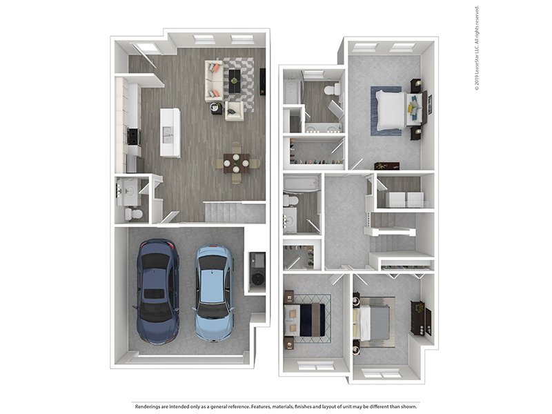 Meadows at Park Avenue Apartments Floor Plan 3x2 Townhome