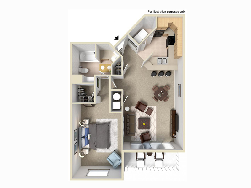 Palladio Apartments Floor Plan 1x1