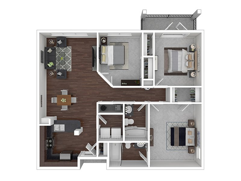 Braxton at Trolley Square Apartments Floor Plan 3 Bedroom 2 Bath