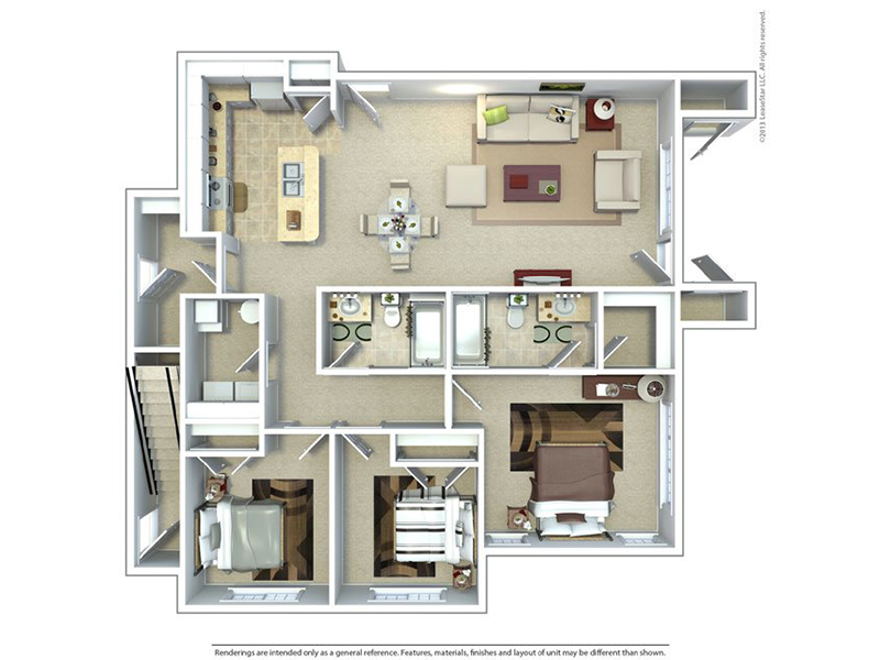 Meadows at American Fork Apartments Floor Plan 3 Bedroom 2 Bath