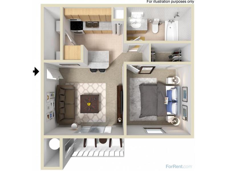 Mountain Shadows Apartments Floor Plan 1 Bedroom 1 Bath