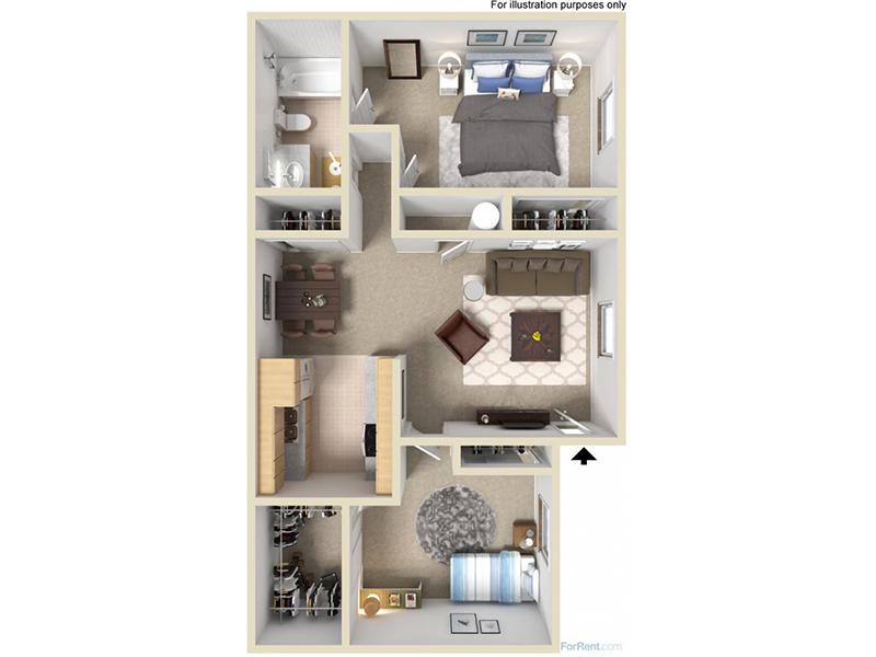 Mountain Shadows Apartments Floor Plan 2 Bedroom 1 Bath