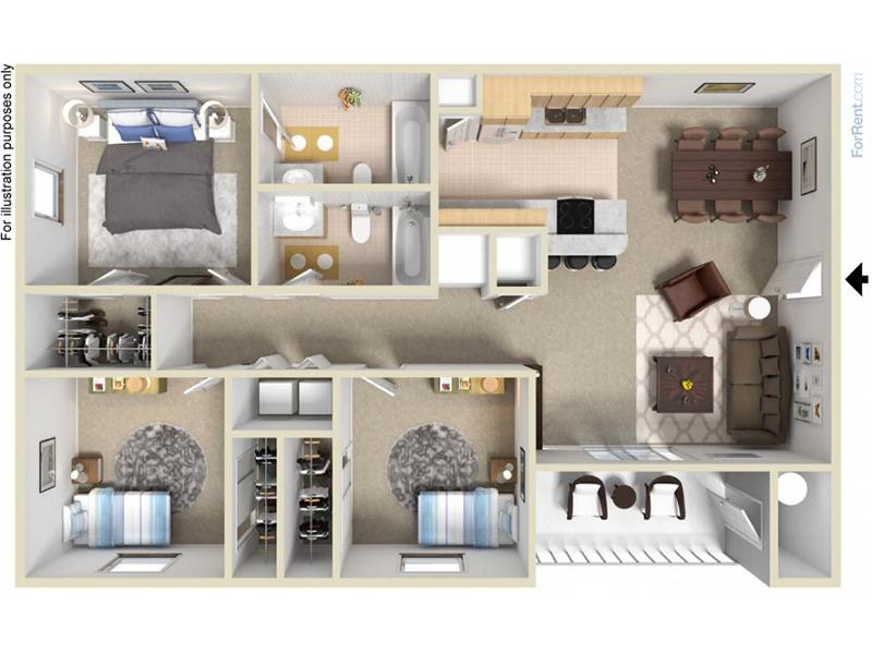 Mountain Shadows Apartments Floor Plan 3 Bedroom 2 Bath