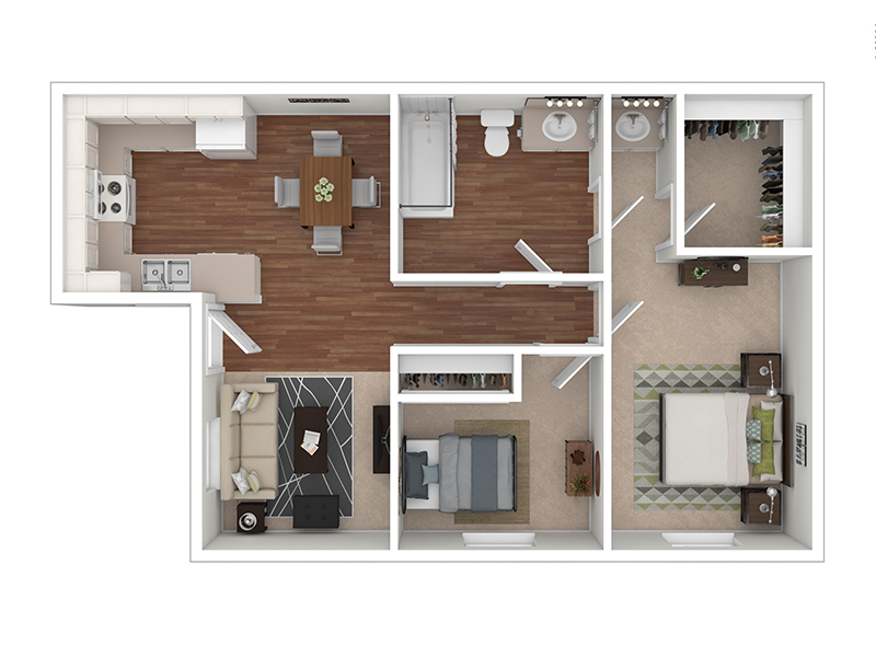 View floor plan image of 2 Bedroom 1 Bathroom A apartment available now