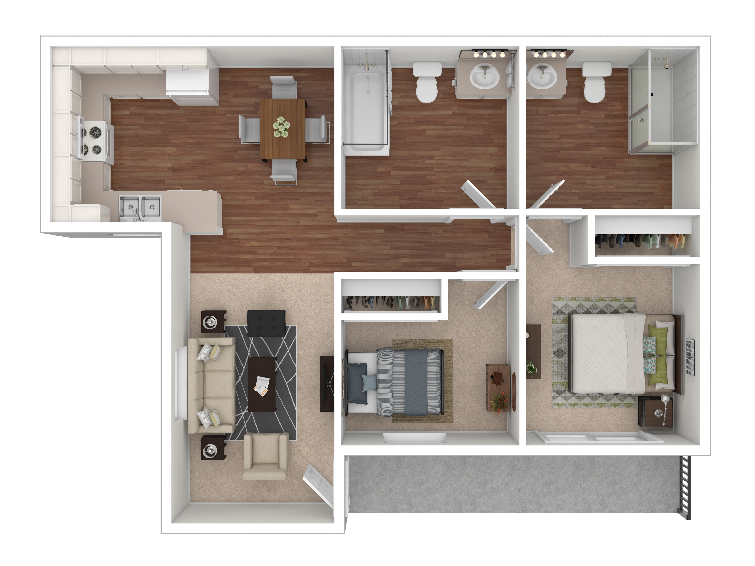 View floor plan image of 2 Bedroom 2 Bathroom B apartment available now