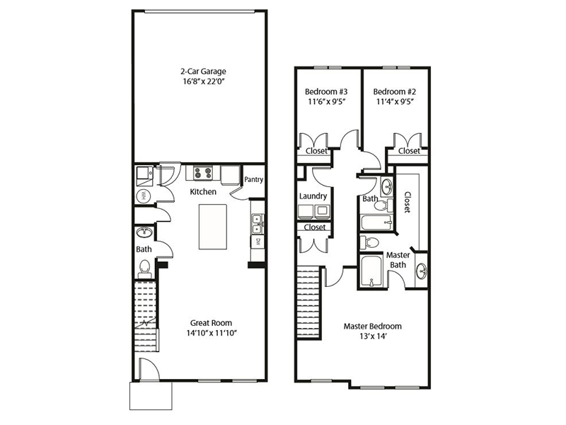 3x2 - B apartment available today at Smithfield Station Townhomes in Smithfield