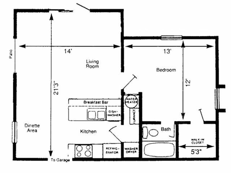 Pinegate  Apartments Floor Plan EAST 1L
