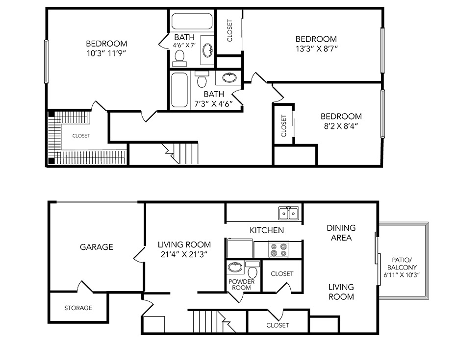 Country Club on 6th Apartments Floor Plan Woods Townhome