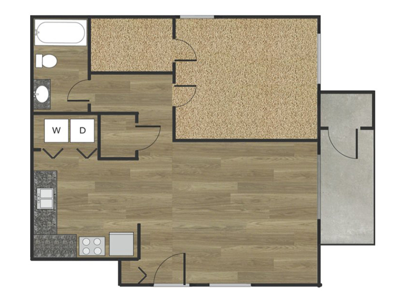 View floor plan image of 1x1A apartment available now