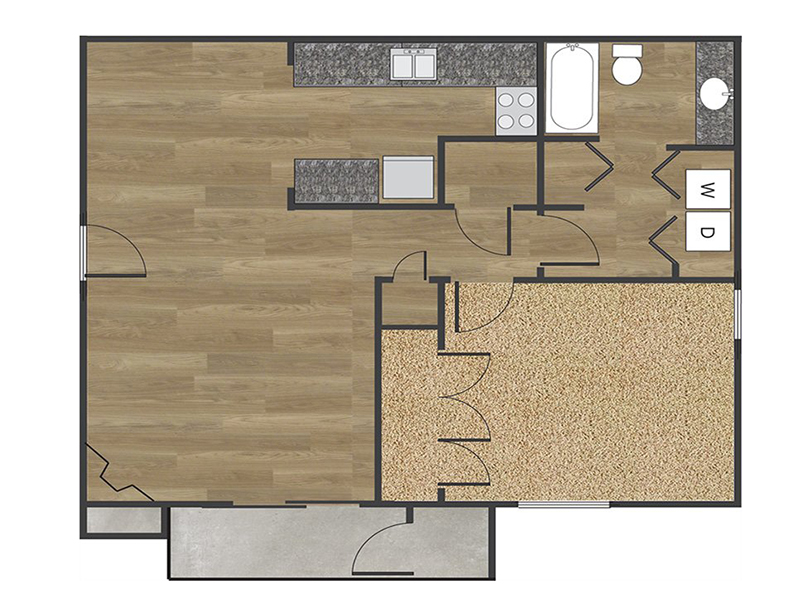View floor plan image of 1x1B apartment available now