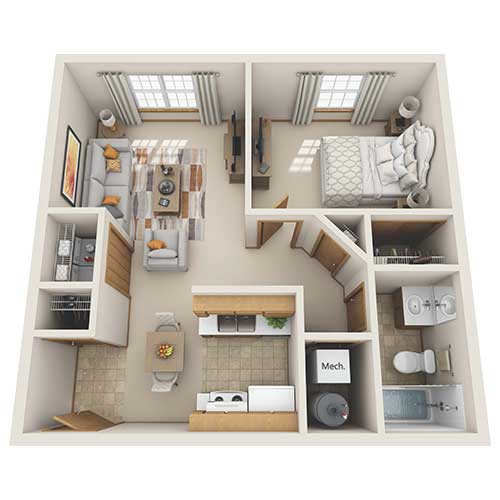 View floor plan image of One Bedroom One Bath apartment available now