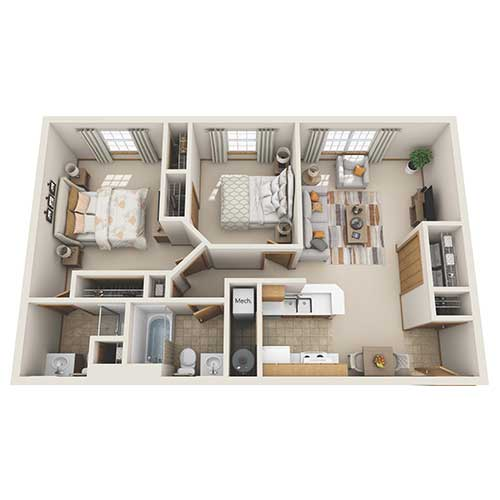View floor plan image of Two Bedroom Two Bath apartment available now
