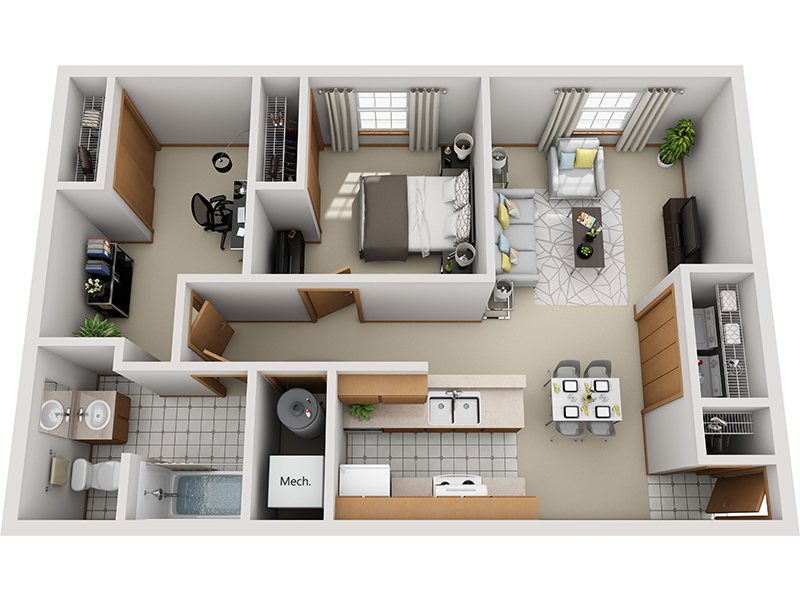 1 Bedroom 1 Bathroom B apartment available today at SawMill Crossing in Columbus