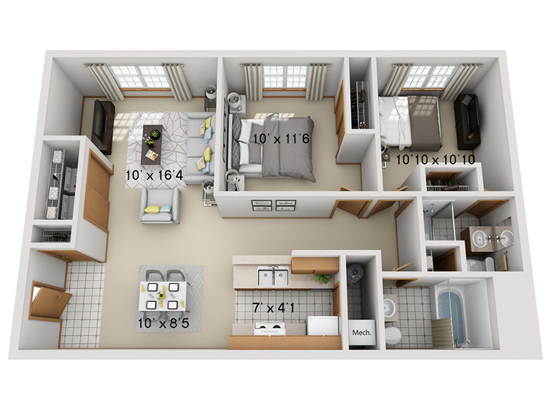 View floor plan image of 2 Bedroom 2 Bathroom A apartment available now