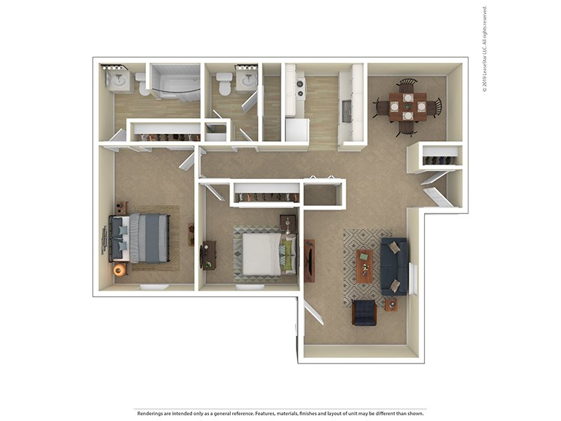 View floor plan image of Garden 2 Bedroom 1 Bathroom apartment available now